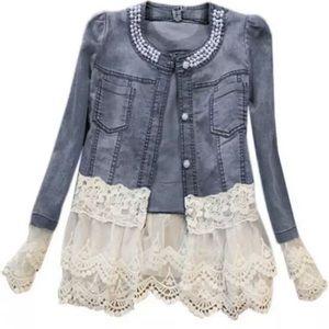 Jackets & Blazers - NEW Medium Wash Denim Lace/Pearl Jacket 5XL